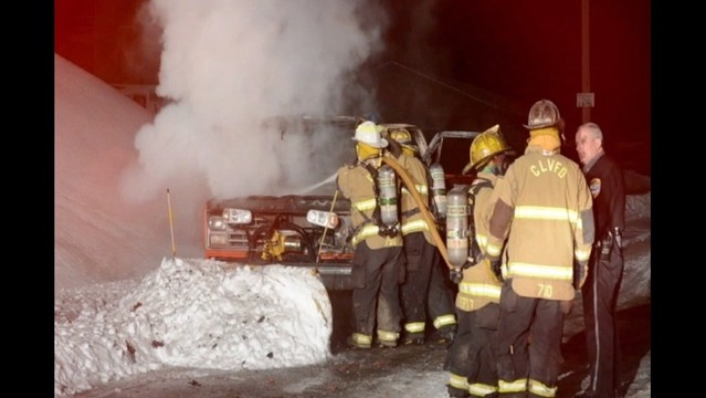Pickup Catches Fire While Plowing