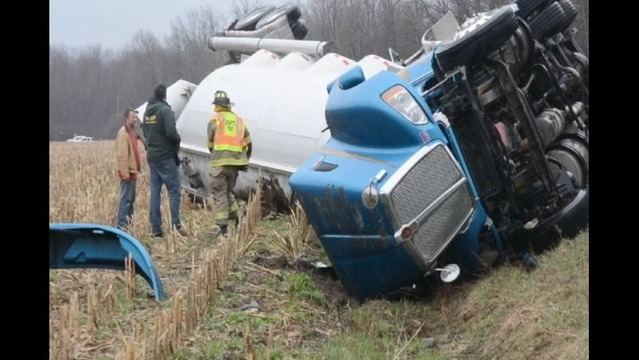 Driver Walks Away Fron Overturned Tractor-trailer