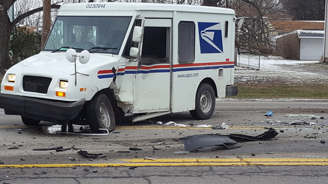 USPS truck involved in collision