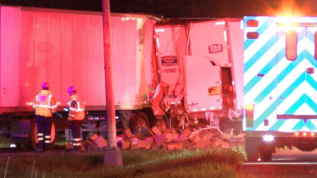 No injuries reported in violent tractor-trailer collision