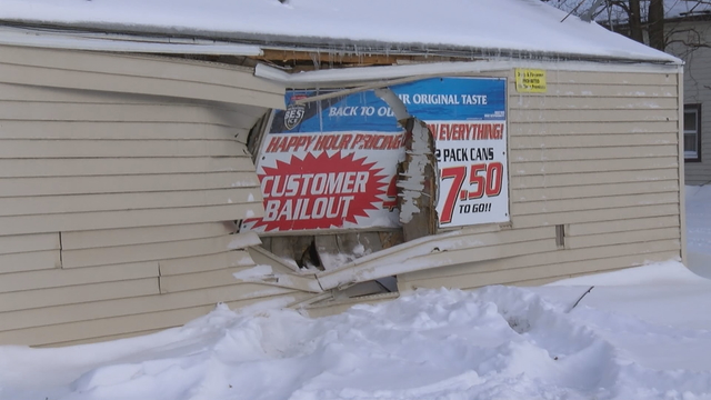 Vehicle crashed into building on East 25th Street