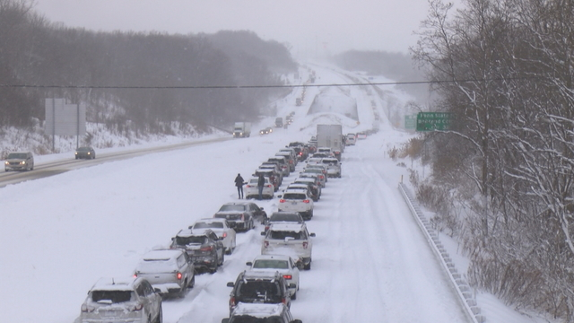 Traffic Backed Up on Interstate 90 Due to Accident from Weather Conditions